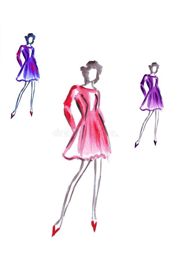 Illustration av hög kvinnlig tre i färgrik kort klänning royaltyfri illustrationer