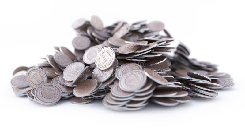 Illustration av högen av mynt, skinande som är metalliska, tolkning 3d arkivbilder