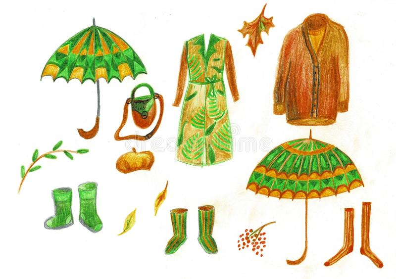 Illustration av höstvinterouterwear, paraplyer och gummistöveler Klassiskt lag royaltyfri illustrationer