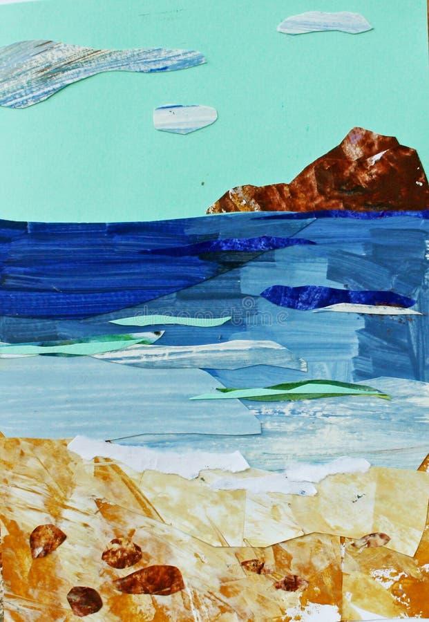 Illustration av havslandskapet med turkoshimmel royaltyfri illustrationer