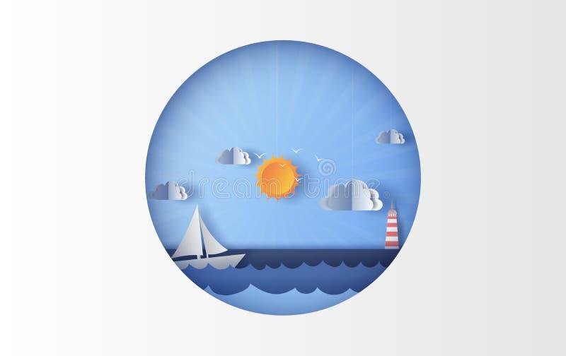 Illustration av havssikten med en sväva segelbåt i clen vektor illustrationer