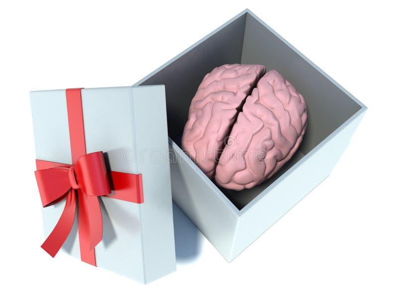 Illustration av hjärnan som är närvarande i den vita gåvaasken med det röda bandet royaltyfri illustrationer