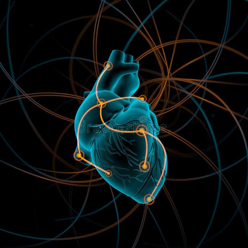 Illustration av hjärta med impulser arkivbild