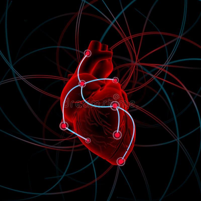 Illustration av hjärta med impulser fotografering för bildbyråer