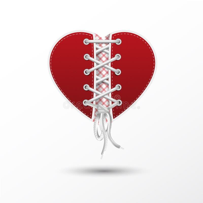 Illustration av hjärta med skosnöre royaltyfria bilder