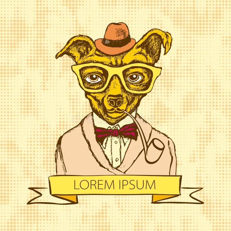 Illustration av hundhipsteren med tatueringuppklädd i t-skjorta med citationsteckenvektorn stock illustrationer