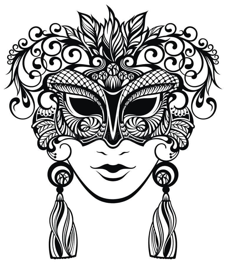 Illustration av I-karnevalmaskeringen med fjädrar stock illustrationer