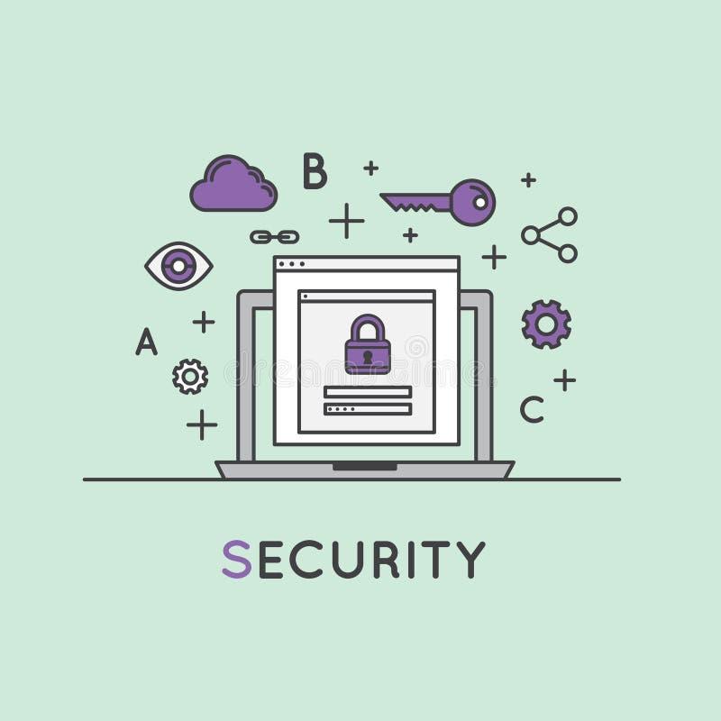 Illustration av internetsäkerhet, dataskydd, säkert datautbyte, kryptografi royaltyfri illustrationer