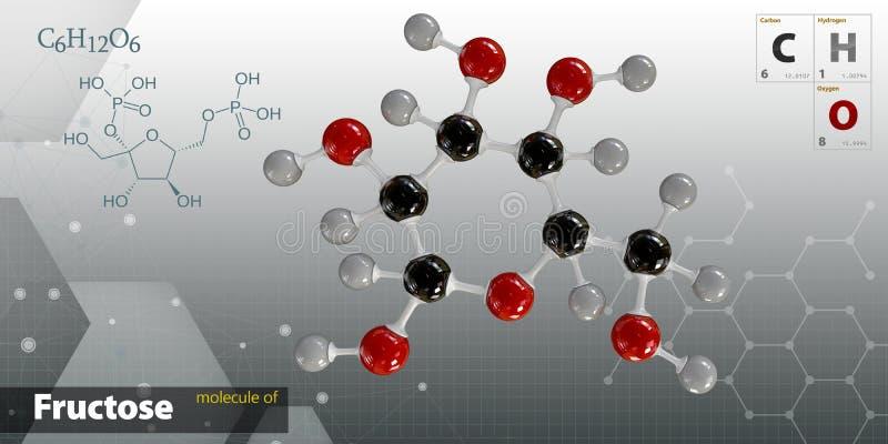 Illustration av isolerad grå bakgrund för Fructose molekyl stock illustrationer