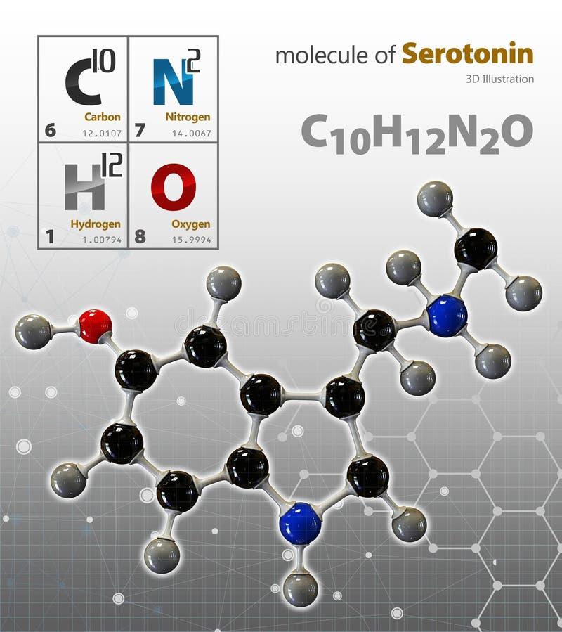 Illustration av isolerad grå bakgrund för Serotonin molekyl vektor illustrationer