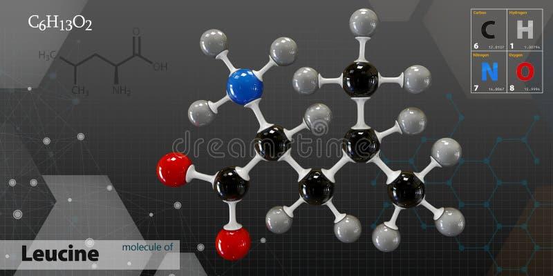 Illustration av isolerad mörk bakgrund för Leucine molekyl royaltyfri illustrationer