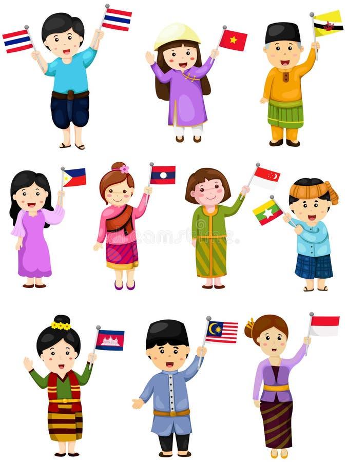 Illustration av isolerade fastställda pojkar och flickor av ASEAN-länder vektor illustrationer