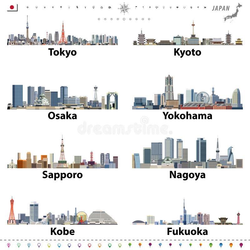 Illustration av japanska stadshorisonter med läge-, navigering- och loppsymboler; flagga och översikt av Japan stock illustrationer