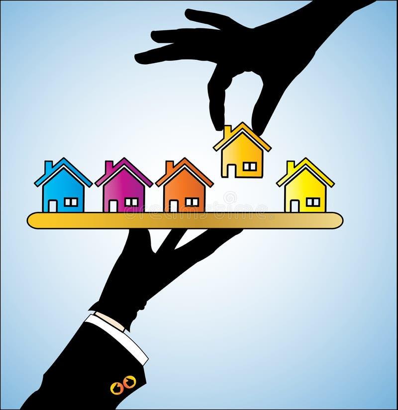 Illustration av köpandet ett hus - en kund som väljer ett hus stock illustrationer