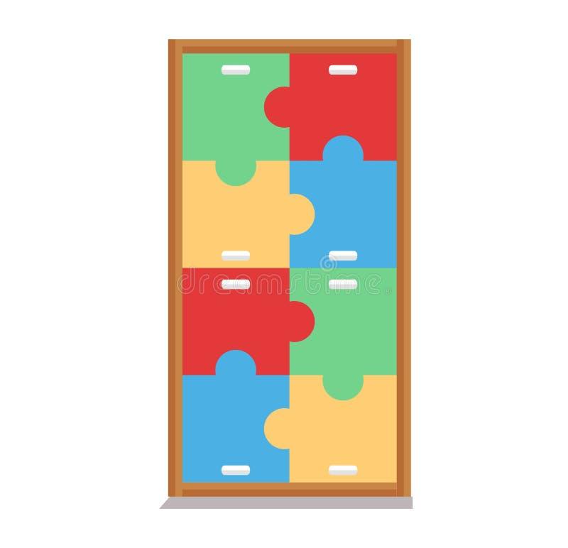 Illustration av kabineda fulla leksaker på vit bakgrund vektor illustrationer