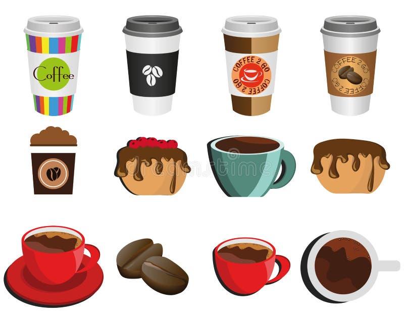 Illustration av kaffe och kaffeförälskelse royaltyfri illustrationer