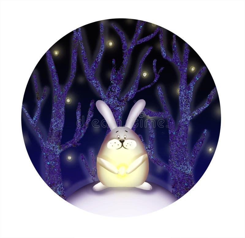 Illustration av kanin i skogen royaltyfri illustrationer