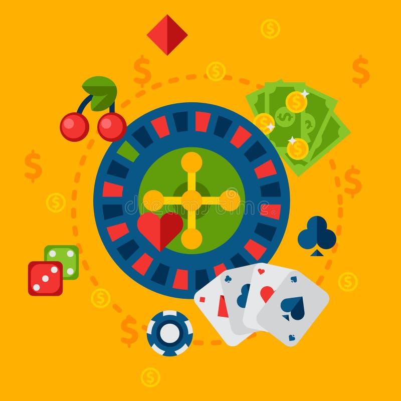 Illustration av kasinot i plan stil stock illustrationer