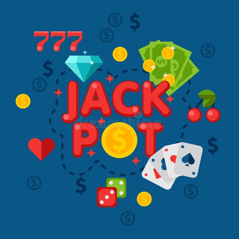 Illustration av kasinot i plan stil royaltyfri illustrationer