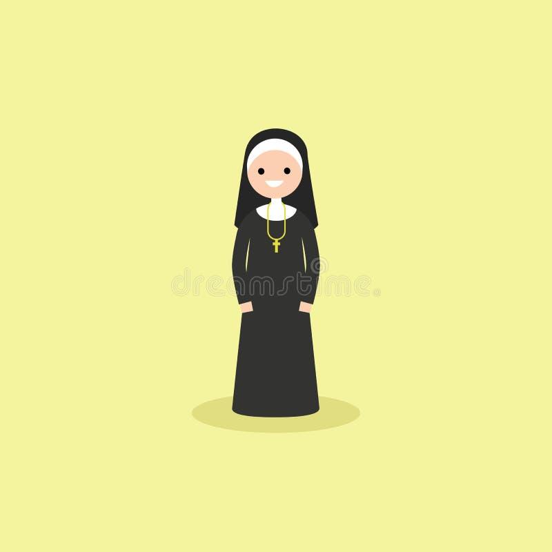 Illustration av katolskt kristet bära för nunna som är svartvitt royaltyfri illustrationer