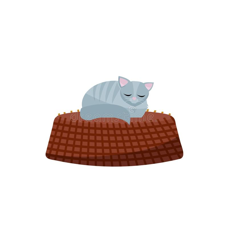 Illustration av kattungen som sover på korg Gr? katt i en hemtrevlig korg Plan tecknad filmvektorillustration p? vit bakgrund royaltyfri illustrationer