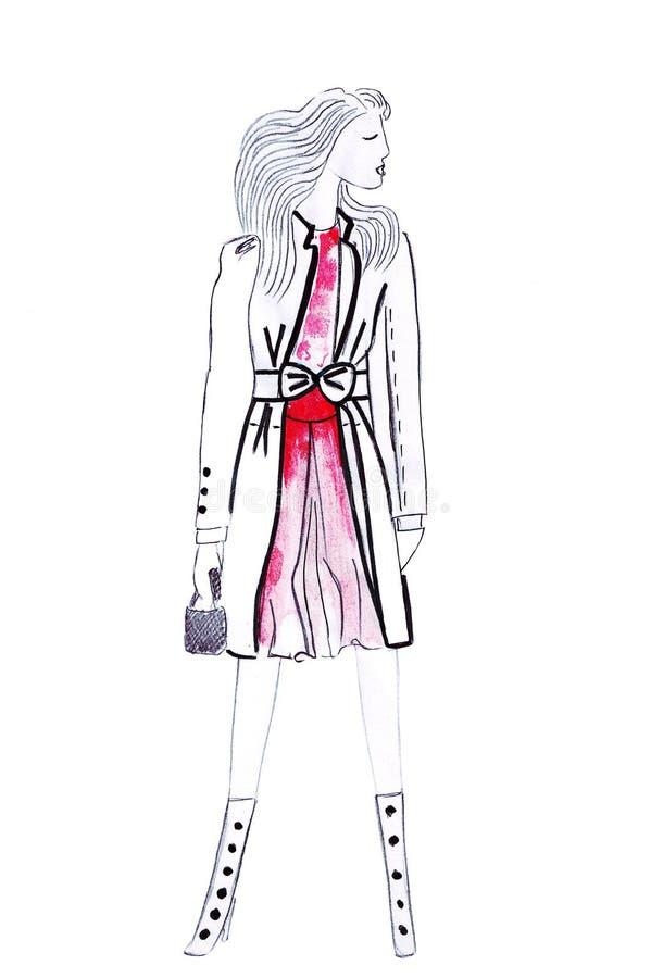 Illustration av kläder för mode för kvinna` s i en kort röd klänning och handväska i händer vektor illustrationer