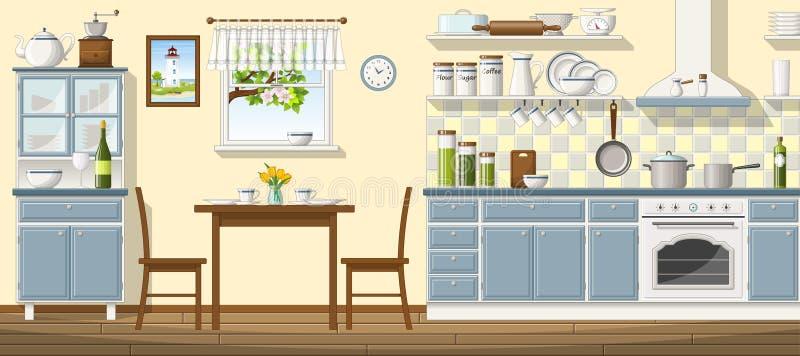Illustration av klassiskt kök vektor illustrationer