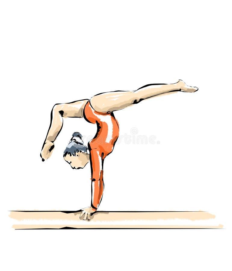 Illustration av konstnärlig gymnastik under konkurrens vektor illustrationer