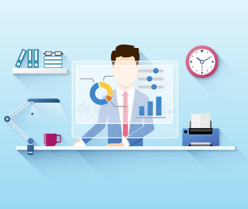 Illustration av kontorsarbetaren som använder datoren royaltyfri illustrationer