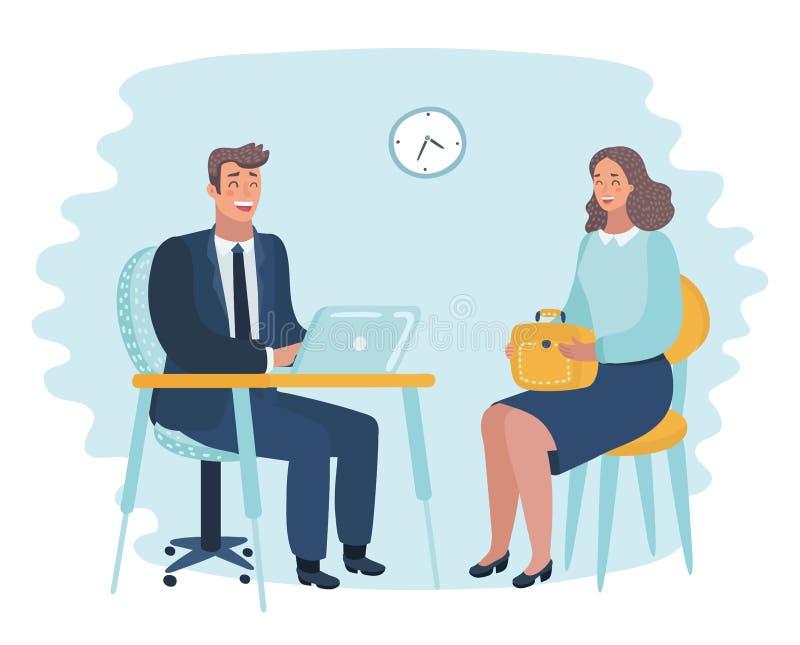 Illustration av kontorsarbetsgivareintervjun vektor illustrationer