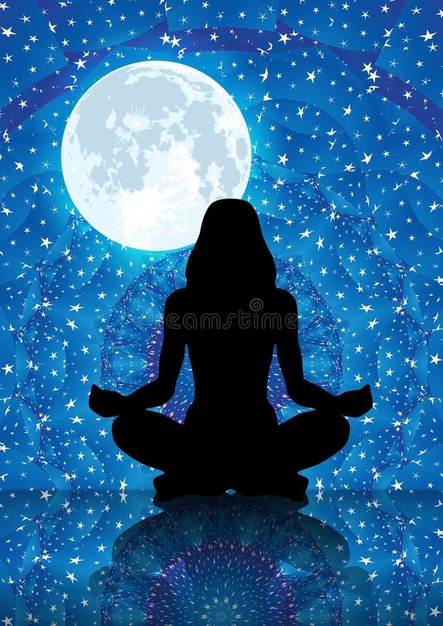 Illustration av konturn av kvinnan som mediterar under fullmåneljus royaltyfri illustrationer