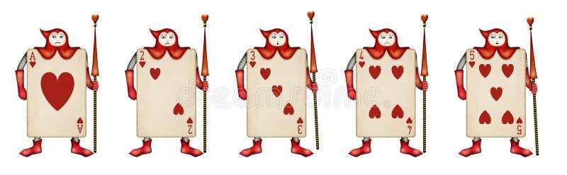 Illustration av kortsoldaten av trena av klubbor vektor illustrationer