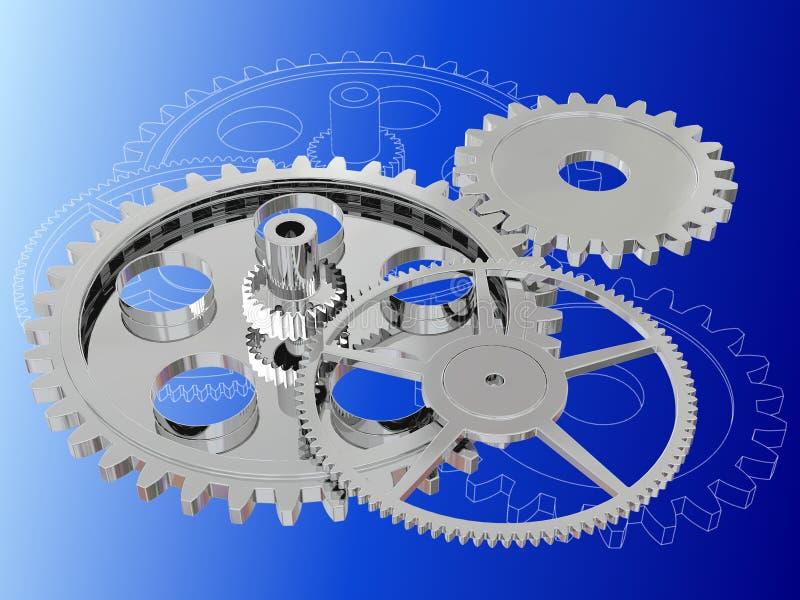 Illustration av kugghjul royaltyfri illustrationer