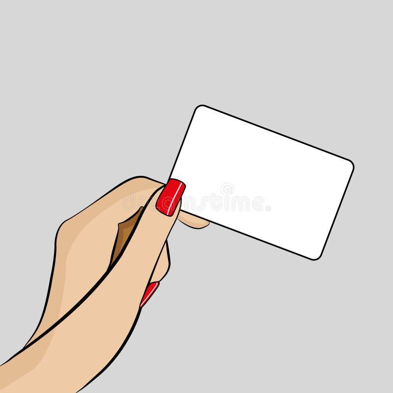 Illustration av kvinnas hand som rymmer ett affärskort stock illustrationer