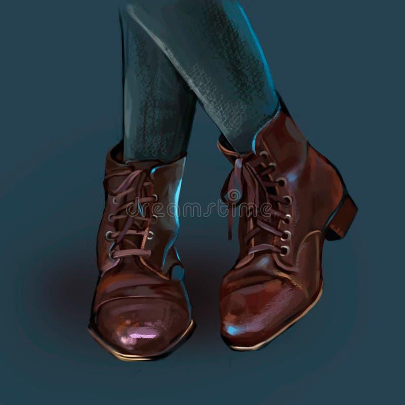 Illustration av kvinnors bruna heeled skor royaltyfri illustrationer
