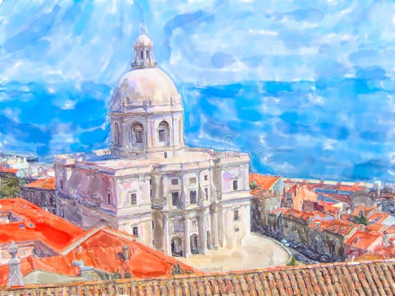 Illustration av kyrkan av Santa Engracia i Lissabon i området Alfama Tejo flod i bakgrund vektor illustrationer