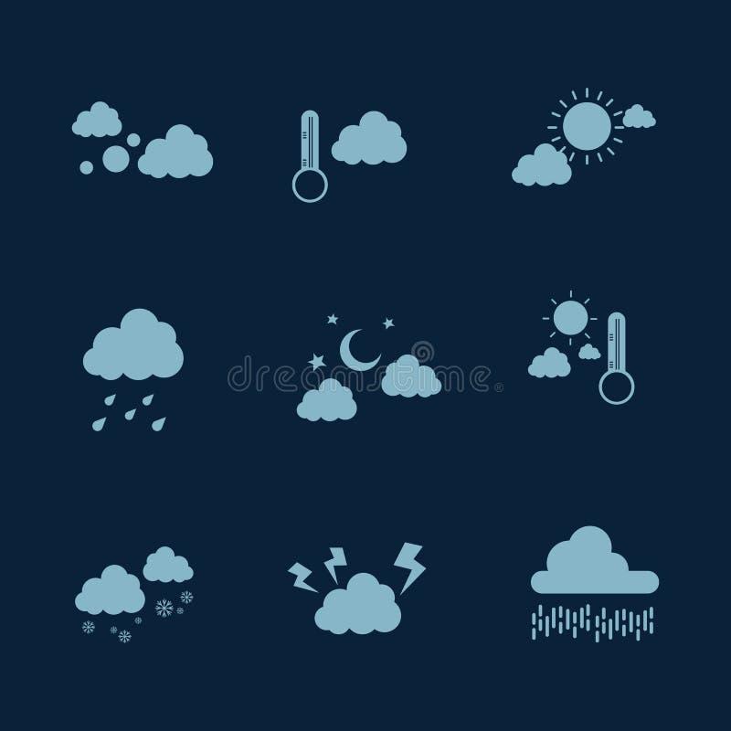 Illustration av lägenheten för vektor för vädersymbolsuppsättning stock illustrationer