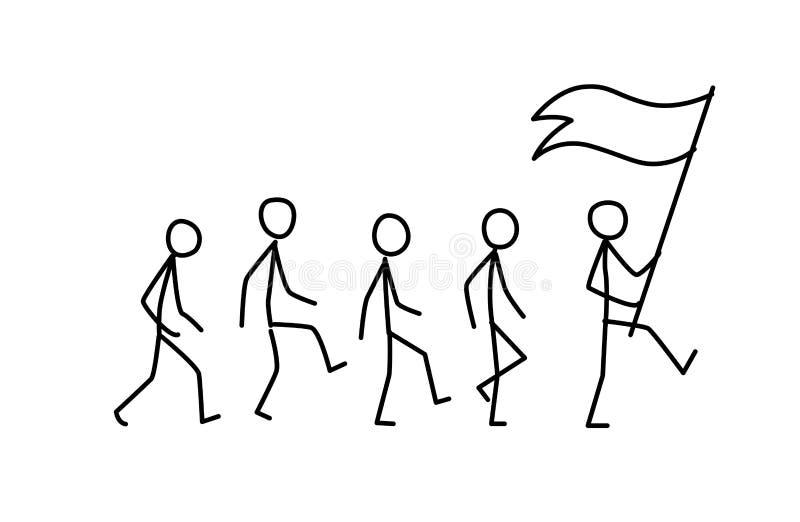 Illustration av laget som följer ledaren vektor Väg endast framme Flaggabäraren går till målet metafor linjär stil stock illustrationer