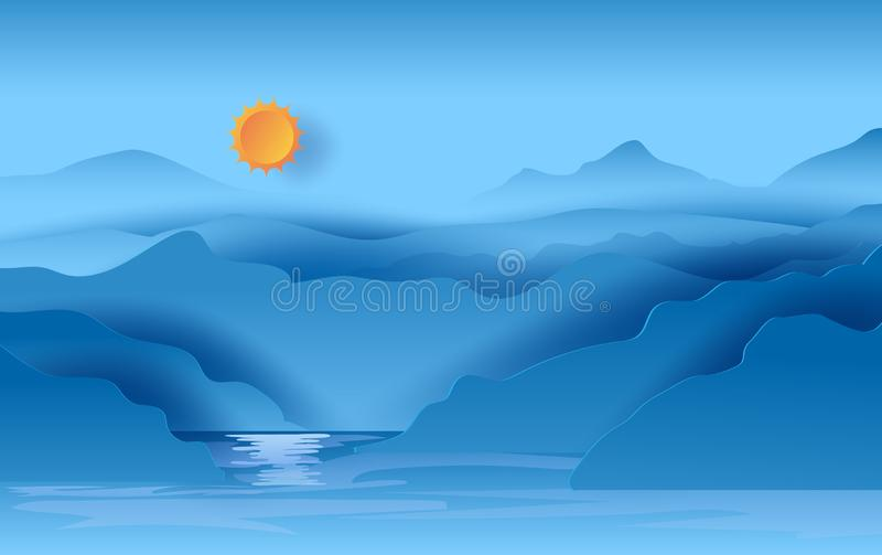 Illustration av landskapsikten av solljus för blå himmel för berg som är härligt i sjön Affisch och kort för sikt för varm sjö fö stock illustrationer