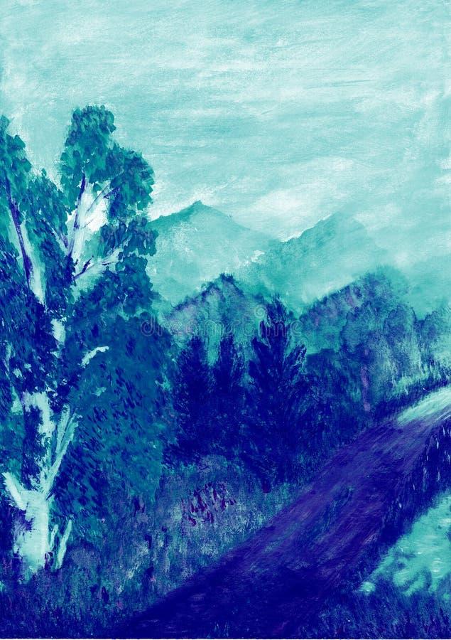 Illustration av landskapvägen till och med skogen som går tillbaka in i avståndsbergen royaltyfri illustrationer