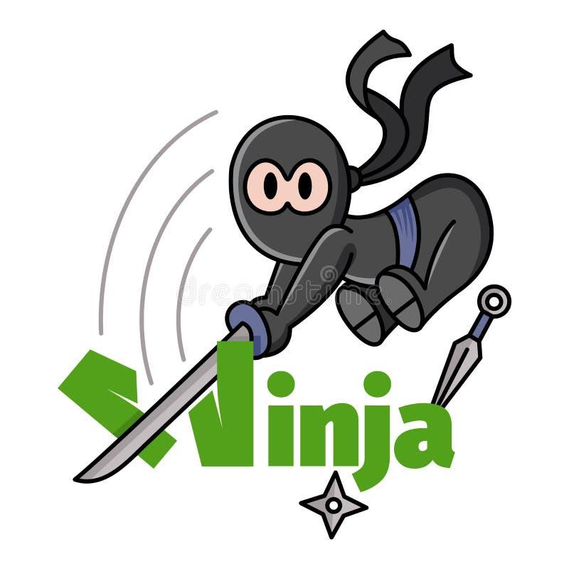 Illustration av lite att hoppa rolig chibininja Tecknad film f?r tecken f?r k?mpe f?r Ninja samurajkrigare Design f?r trycket, t- royaltyfri illustrationer