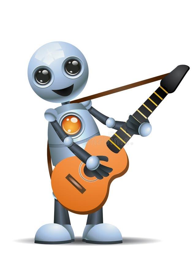 Illustration av lite roboten som spelar gitarren vektor illustrationer