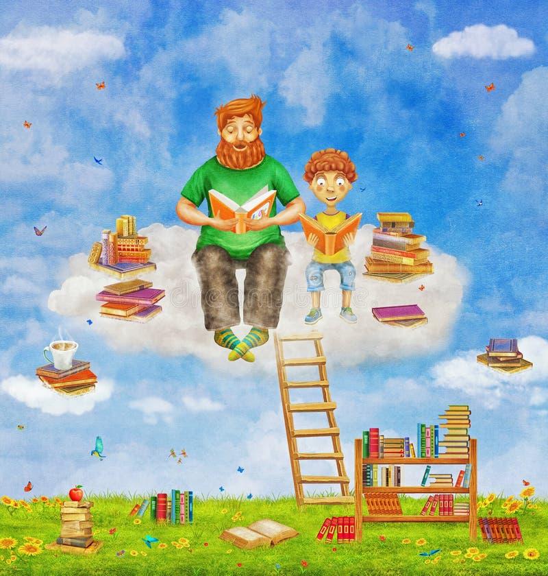 Illustration av ljust rödbrun fader- och sonläseböcker på stock illustrationer