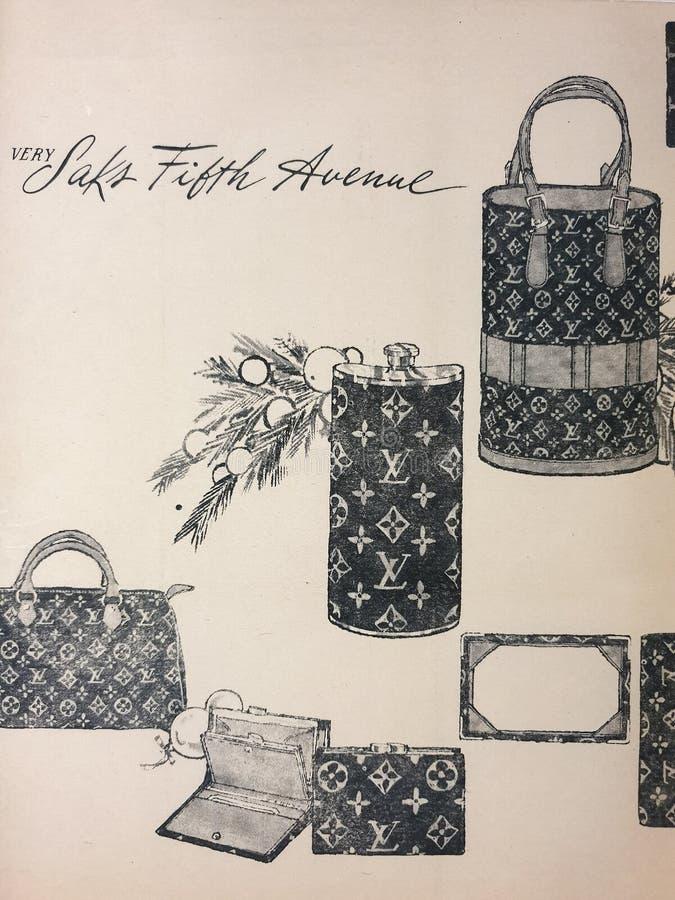 Illustration av Louis Vuitton Handbags Brought in i Saks Fifth Avenue flaggskepplager arkivbilder