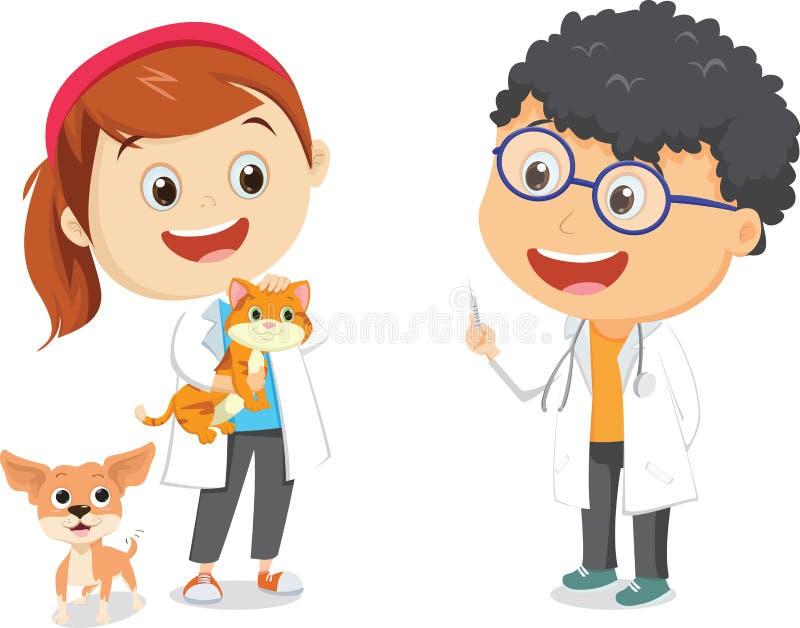 Illustration av lyckliga barn med den veterinär- yrkedräkten vektor illustrationer