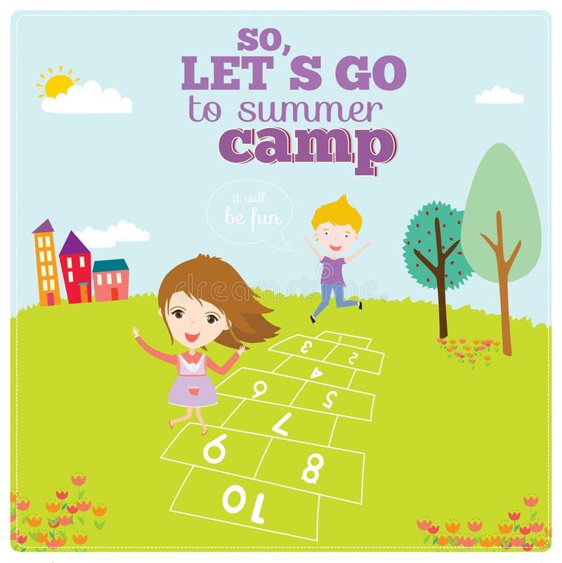 Illustration av lyckliga ungar på sommarbakgrund stock illustrationer