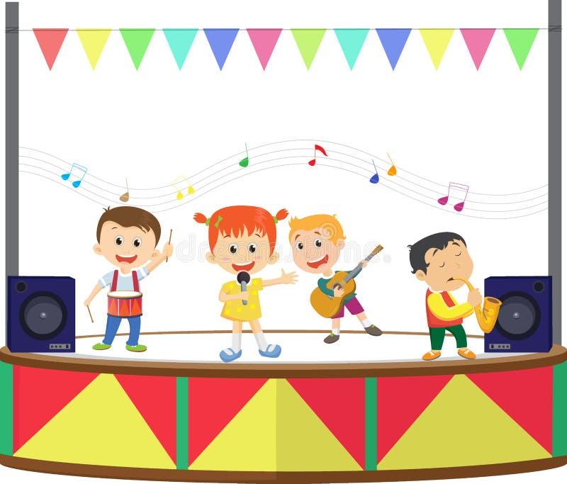 Illustration av lyckliga ungar som spelar musik på etappen royaltyfri illustrationer
