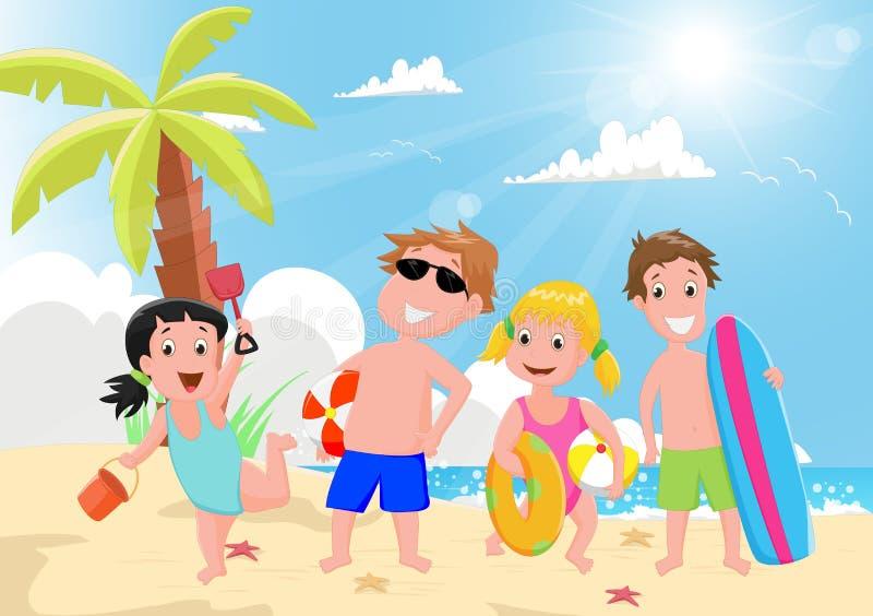 Illustration av lyckliga ungar som spelar på sommarstranden royaltyfri illustrationer