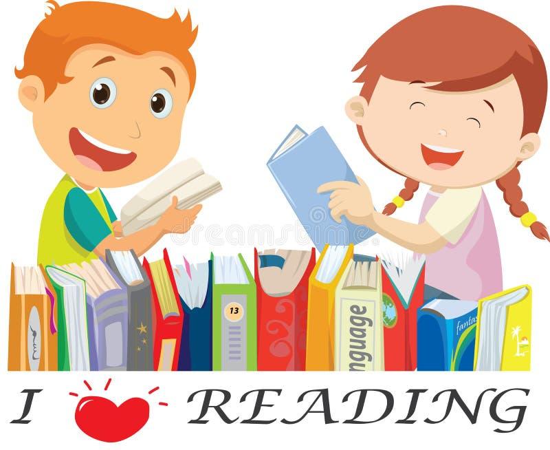 Illustration av lyckliga ungeläseböcker Isolerat på vit vektor illustrationer