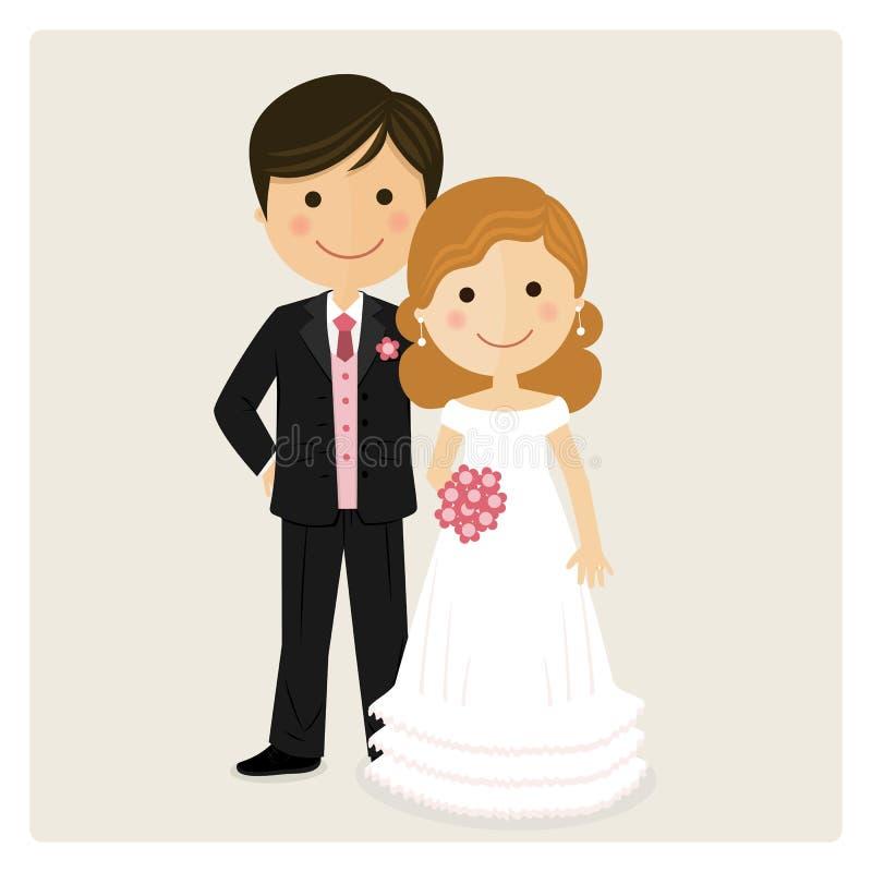 Illustration av lyckligt precis gift stock illustrationer